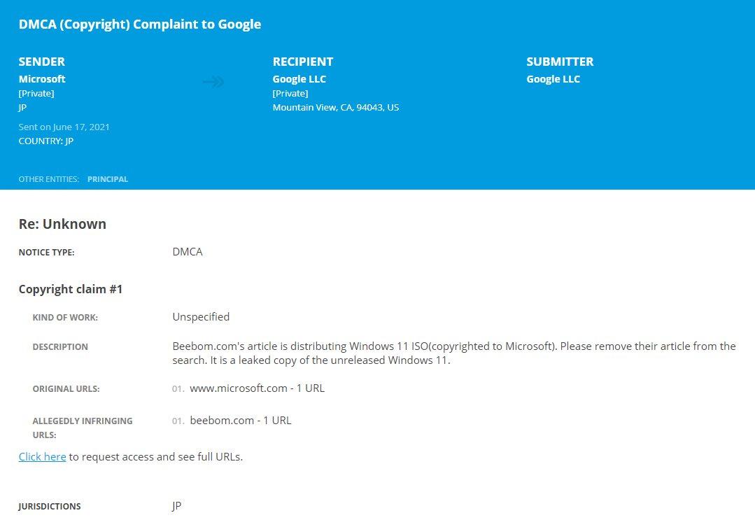 Request Microsoft's DMCA Bebo to share Windows 11