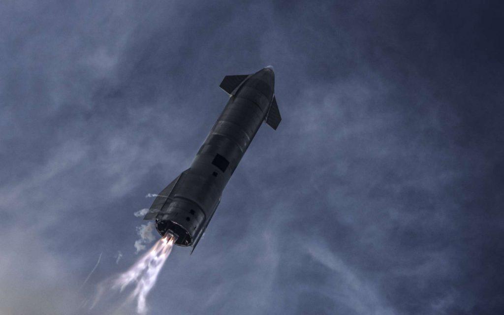 Photo du vol d'essai du Starship SN10, le 3 mars 2021. © Space X