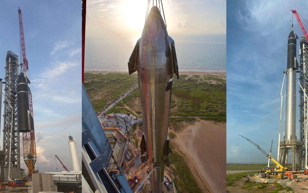 Avec l'installation du StarShip SN20 sur le SuperHeavy BN4, le plus grand lanceur au monde prend forme. © SpaceX
