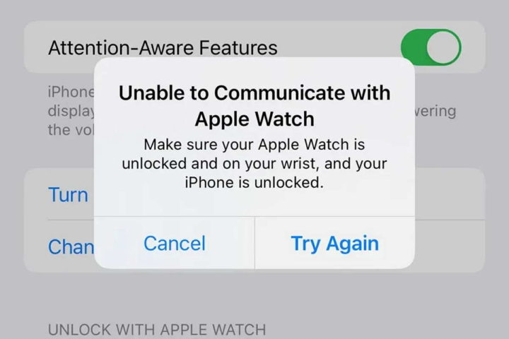 Apple Watch is having trouble unlocking the new iPhone 13